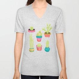 Cacti Family Portrait Unisex V-Neck