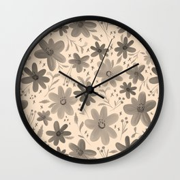 Fashion Blooms No.2 (Black) Wall Clock