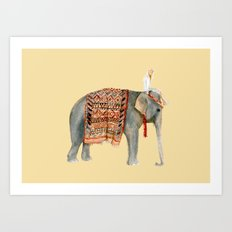 Elephant Ride on Sand Art Print