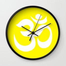 White AUM / OM Reiki symbol on yellow background Wall Clock