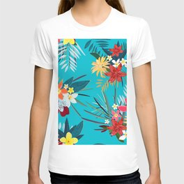 Frangipani, Lily Palm Leaves Tropical Vibrant Colored Trendy Summer Pattern T-shirt