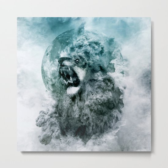 Lion Blue Metal Print