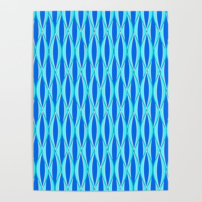 Mid-Century Ribbon Print, Shades of Blue and Aqua Poster