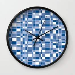 Mod Gingham - Blue Wall Clock