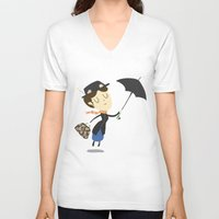 mary poppins V-neck T-shirts featuring Mary Poppins by Rod Perich