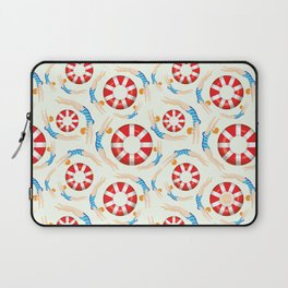 Summer Swimmers in Blue on Yellow | Floats | Life Savers | pulps of wood Laptop Sleeve