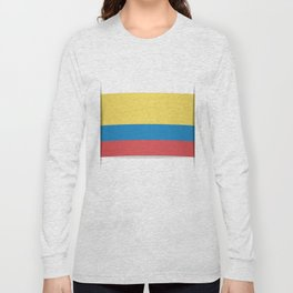 Flag of Colombia. The slit in the paper with shadows. Long Sleeve T-shirt