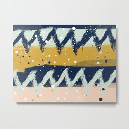 Gold, Mint, blush, Navy abstract  Metal Print