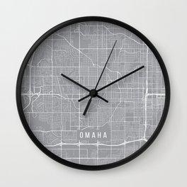 Omaha Map, Nebraska USA - Pewter Wall Clock