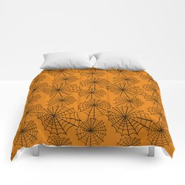 Black orange hand painted halloween spider web pattern Comforters