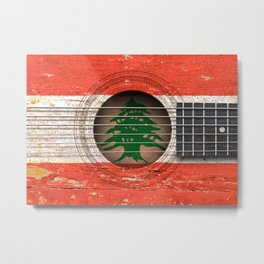 Old Vintage Acoustic Guitar with Lebanese Flag Metal Print