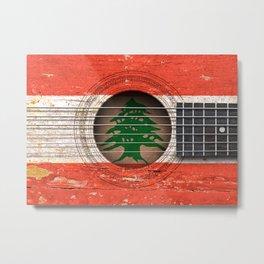 Old Vintage Acoustic Guitar with Lebanese Flag Metal Print