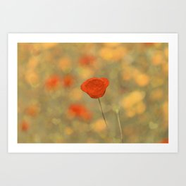 Poppy-Red+Bokeh Hearts Art Print