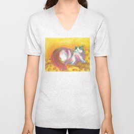 psychedelic cat Unisex V-Neck