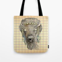 bison Tote Bags featuring Bison by dogooder