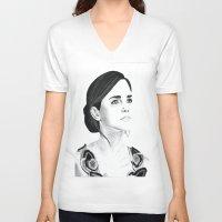 emma watson V-neck T-shirts featuring Emma Watson by Moira Sweeney