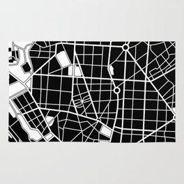 Madrid, Spain - Black Map Rug