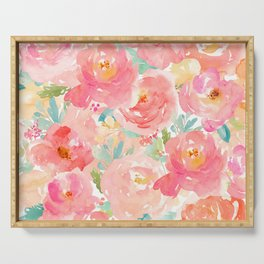 Preppy Pink Peonies Serving Tray