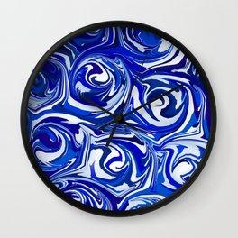 China Blue Paint Swirls Wall Clock