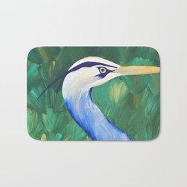 Heron in the Grass Bath Mat
