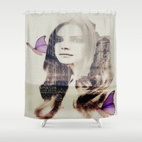 lana Shower Curtains featuring Softy (Lana) by Kiki collagist