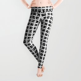 Black and white square monsters Leggings