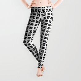 Black and white square monsters Leggings