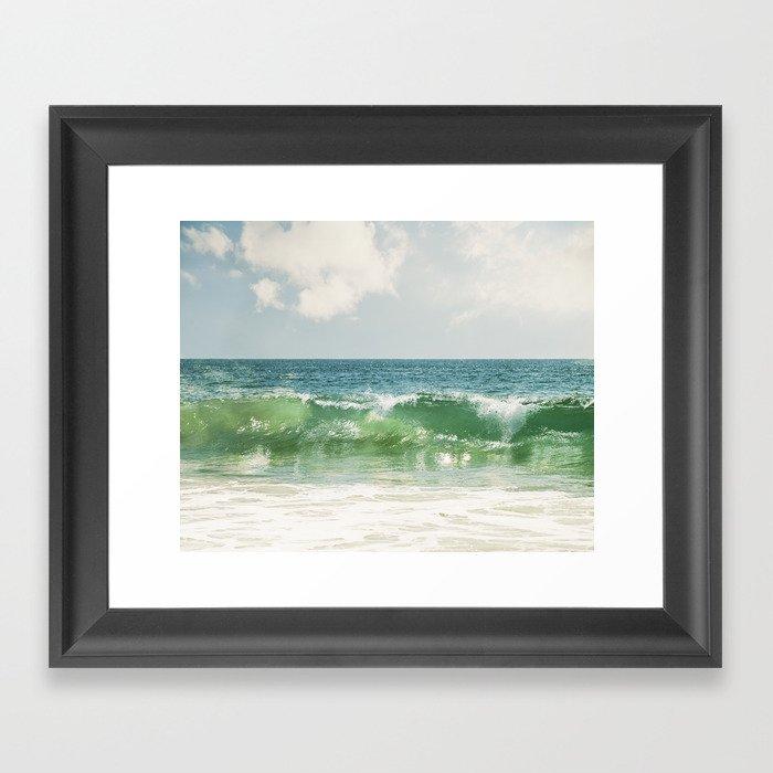 Ocean Sea Landscape Photography, Seascape Waves, Blue Green Wave Photograph Gerahmter Kunstdruck