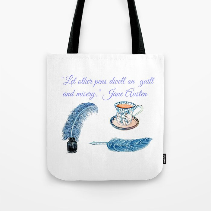 Jane Austen Quote with tea and ink Tote Bag
