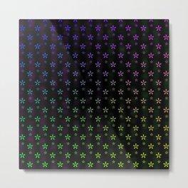 Large rainbow ombre stars on black background Metal Print