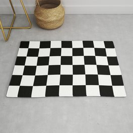 Black and White Checkered Pattern Rug