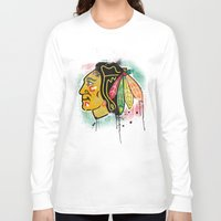 blackhawks Long Sleeve T-shirts featuring chicago blackhawks hockey by abstract sports