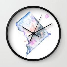 Washington DC Watercolor Map - State Map Art - Watercolor Maps Wall Clock