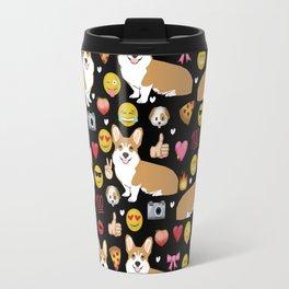 Corgis emoji pattern cute welsh corgis gifts for pure breed dog lovers Travel Mug