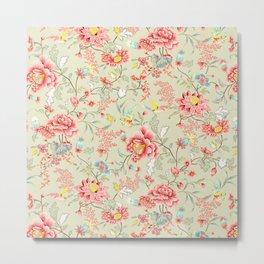 Oriental Flowers Pattern Metal Print