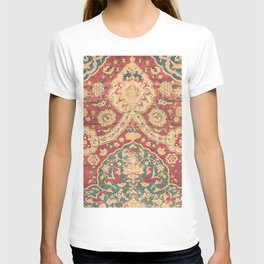 Peonies Kashan I // 16th Century Distressed Colorful Red Tan Light Blue Ornate Accent Rug Pattern T-shirt