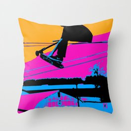 Tail Grabbing High Flying Scooter Throw Pillow