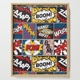 Modern Comic Book Superhero Pattern Color Colour Cartoon Lichtenstein Pop Art Serving Tray