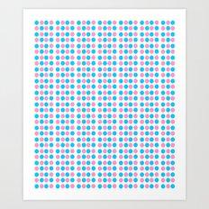 pink and blue polka dot-polka dot,pattern,dot,polka,circle,disc,point,abstract,minimalism Art Print