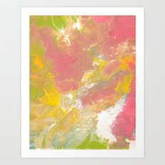 Pink, Yellow, and Green Fluid Acrylic Abstract Painting Art Print