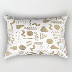 Retro abstract geometrical faux gold white 80'spattern Rectangular Pillow