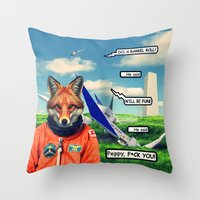 starfox Throw Pillows featuring Starfox - F*CK YOU PEPPY! by John Medbury (LAZY J Studios)