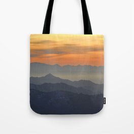 Mountains. Foggy sunset Tote Bag
