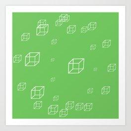minimal CUBES MAKING SPHERE green Art Print