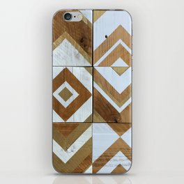 White Chevron Painting on Reclaimed Wood iPhone Skin