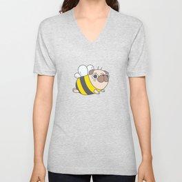 Pug Bee Pattern Unisex V-Neck