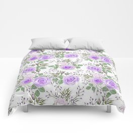Purple Roses, Shabby Floral Comforters