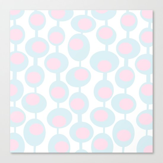 abstract 60ies circles and dots pattern in pink, white and aqua Canvas Print