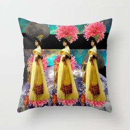 THREE LADIES... THREE FISH I Throw Pillow