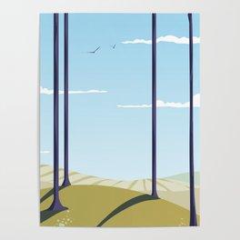 Green hillside and trees cartoon landscape. Poster